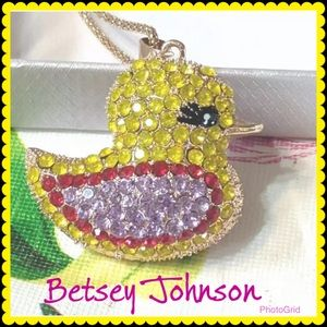 NWT Betsey Johnson Crystal Duck 🐥 Necklace
